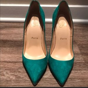 Christian Louboutin-So Kate Suede 120mm Green SZ38